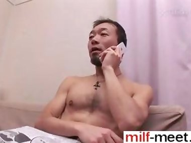 Asian MILF gets her hairy pussy blasted with a diamond hard dick