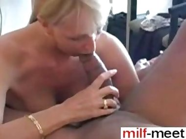 Mature blonde enjoys a hot black cock in POV