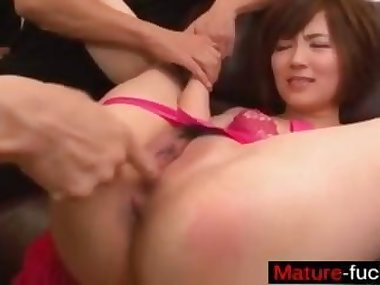 Asian hottie turns into a nasty whore with two..