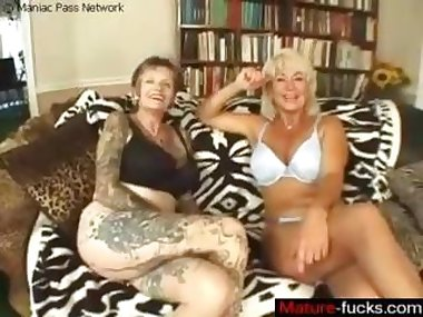 Big tits blonde gets her mature marvelous tits licked by a lesbian