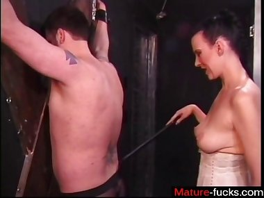 busty brunette is the domina and she does him good