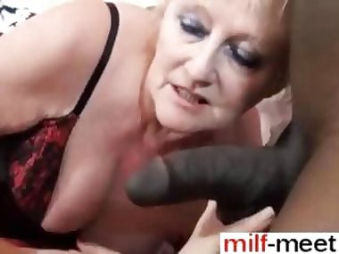 granny has a fat black cock to suck on hard