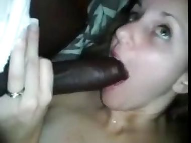 sucking and blowing on the fat black dick