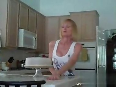 Hot blonde wife fucked in her kitchen
