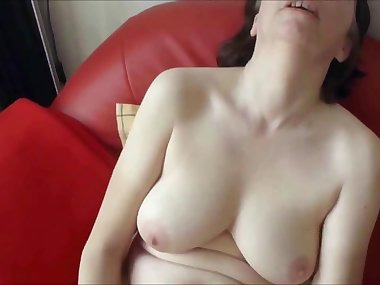 Horny MILF with natural big boobs masturbates