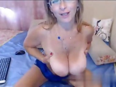 she is showing off the boobs on webcam