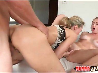 Busty stepmom Brandi Love hot threesome on massage table