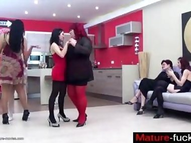 Super hot lesbian ladies in a nasty group sex scene
