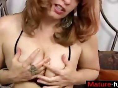 redhead in a close up gets to toy her giant vagina