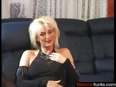 Shocking blonde mature fucks a young dude