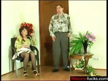 Cigar smoking mature gets drilled on the floor in stockings