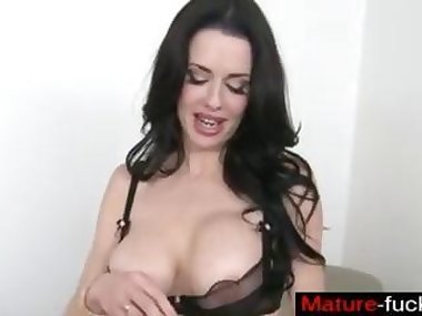 busty brunette with big tits sucking the erect pole