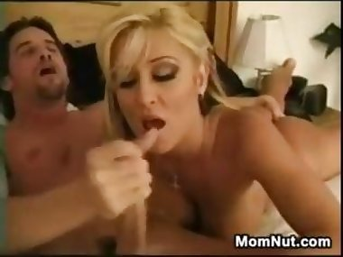 Sexy Blonde Mother Enjoying His Cock