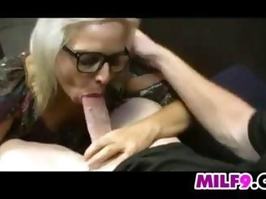 Blonde Mother Sucking On A Pale Cock